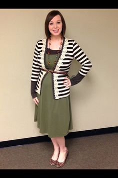 Olive green dress, brown and white striped cardigan with lace trim. Modest maternity fashion