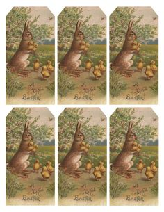 Vintage Easter bunny & chicks ~ free printable tags @Sophie LB Brandon I thought of you when I saw these. Gorgeous aren't they.