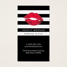 Modern Makeup Gold Lips - Chic Black White Stripes Double-Sided Standard Business Cards (Pack Of