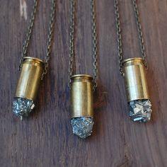pyrite cluster bullet pendant