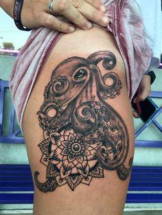 Octopus Henna Mandella Tattoo  by Diane Lange at Moonlight tattoo Seaville NJ Moonlight Tattoo, Diana, Cover Up, Skull, Tattoos, Tatuajes, Japanese Tattoos, Tattoo, Tattoo Illustration