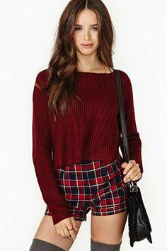 Study Break Crop Sweater - Oxblood
