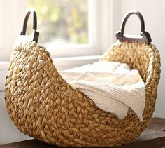 Beachcomber Wood Handled Basket #potterybarn  - great beside a couch in the living room with extra blankets