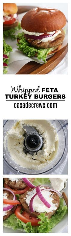 Whipped Feta Turkey Burgers - freshly whipped feta cheese, EVOO, and your fave burger toppings come together for one tasty summer meal! @jennieorecipes #maketheswitch
