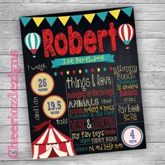 1st Birthday Chalkboard Circus Theme by CheeriozDezigns on Etsy