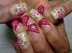 Fucsia flores Fabulous Nails, Perfect Nails, Gorgeous Nails, Rose Nails, My Nails, Summer Nails 2018, One Stroke Nails, Flower Nail Art, Finger