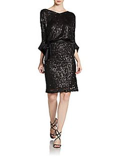Shoulldn't be a self tie belt is all but nice. Josie Natori - Belted Sequin Dress