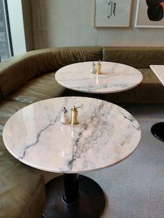 Rosa Aurora marble tables in Granger & Co, London