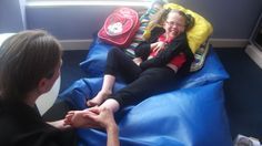 One of our amazing members enjoying a sensory massage session Bean Bag Chair, Massage, Amazing, Life, Bean Bag, Massage Therapy