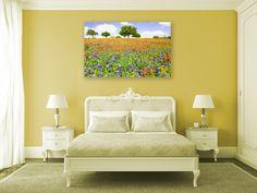 Happy sunny bedroom -- yellow wall color and wildflower field #flowerfield #interiordecor #texaswildflowers