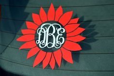 Sunflower Monogram Decal - Car Decal - Flower - Vine - Monogrammed - Window