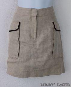 Ann Taylor Loft Pencil Skirt 100% Natural Linen Pockets Contrast Trim Lined 8 #AnnTaylorLOFT #StraightPencil