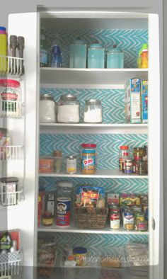Pantry Makeover.  Motivated by the 30-Day Clean House Challenge and Inspired by a beautiful shelf liner.  love the results!