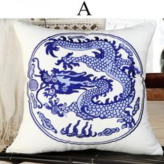 Chinoiserie dragon embroidered pillow for couch Blue and white sofa cushions