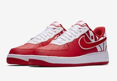 check out 4a283 9ae57 The Nike Air Force 1 Low FORCE Logo Pack includes three colorways dressed  in Red White, Black White, and White Obsidian-Navy with graphic branding.