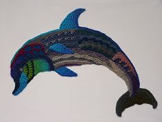 Freeform crocheted Dolphin by Ann*Benoot, inspired by Zentangle Drawing of power animals. Textile art 'painting' 50x40 cm.