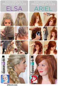 Disney Hairstyles Halloween Hair Tutorialsdisney Princess Styles Ariel  Hair