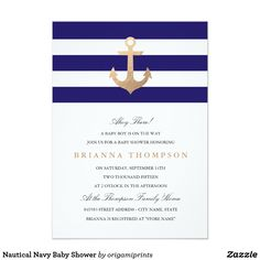 nautical ocean themed navy and gold anchor baby shower invitations