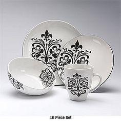Black and white Fluer De Lis dishes! goes with anything http://www.frenchquartermarket.com/fleur-de-lis-home-decor.aspx?gclid=CM_itPKFg7oCFUxgMgodCCQA1g
