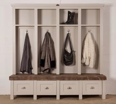 This Mudroom Unit by Milestone Kitchens is available by order in all 3 of our ranges. This specific one is also available in our Showroom at 52 6th street in Parkhurst, Johannesburg. Perfect for your hallway! Swedish Style, Mudroom, Ranges, Showroom, Kitchens, Entryway, Street, Furniture, Home Decor