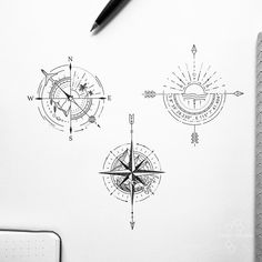 Discover recipes, home ideas, style inspiration and other ideas to try. Tattoos Skull, Mini Tattoos, Small Tattoos, Sleeve Tattoos, Tatoos, Compass Tattoo Design, Geometric Tattoo Design, Tribal Tattoo Designs, Simple Compass Tattoo