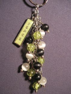 Green, Black, and White Glass Beaded Purse Charm / Key Chain with Peace Charm