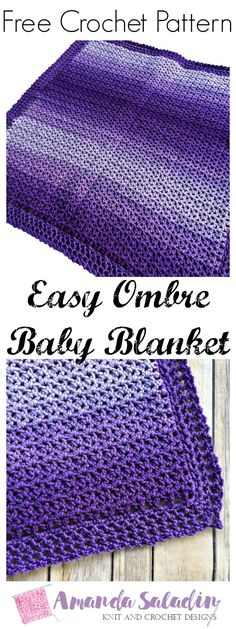 Crochet Pattern Afghans Easy Ombre Baby Blanket - Free Crochet Pattern - Crochet a quick and easy gift with this free crochet pattern for the Easy Ombre Baby Blanket. Uses only 2 skeins of Red Heart yarn! Afghan Crochet Patterns, Crochet Stitches, Knitting Patterns, Crochet Afghans, Baby Afghans, Poncho Patterns, Free Knitting, Knitting Ideas, Stitch Patterns
