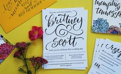 Gorgeous invites on Reich Paper SAVOY 100% cotton tree free letterpress paper. Modern Hand Lettered Wedding Invitations by And Here We Are / Oh So Beautiful Paper