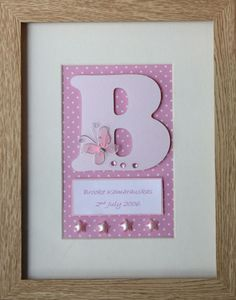 £20.00 3D Personalised name frame - pink butterflies. Perfect gift for new baby, christening or birthday. Includes name and date of birth.