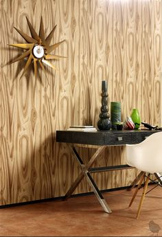 retro styling, faux wood wallpaper---For the perfect wallpaper call Concept Candie Interiors--www.conceptcandie.com-wallpaper