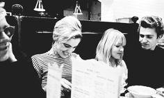 Andy Warhol, Edie Sedgwick, Bibbe Hansen and Gerard Malanga at Max's Kansas City restaurant, NYC, 1965.
