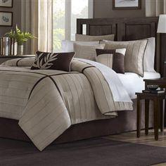 Queen size 7-Piece Beige Stripe Comforter Set