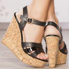 Sandales compensées noir femme elasthomère talons de 13 cm taille 36, en vente sur la boutique en ligne Modatoi. Achetez en