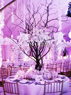 purple tree wedding centerpiece