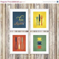 FALL SALE Modern Kitchen Art Prints  Bon Appetit by 7WondersDesign