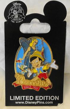 Disney Pinocchio Since 1940 75th Anniversary LE 2000 Pin New On Card $39.99