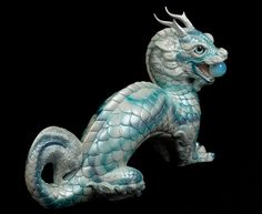 Oriental Moon Dragon - Winter Storm Test Paint #1 - Airbrushed and Hand Painted, fantasy figurine, statue $850.00 #dragons #fantasyart #collectables