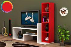 Rafline Magia Tv Ünitesi :: Tv Cabinet Design, Tv Wall Design, Wall Shelves Design, Tv Unit Furniture Design, Space Saving Furniture, Home Decor Furniture, Tv Unit Decor, Tv Wall Decor, Tv Wanddekor