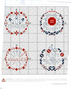 Buttons, Needles, etc. Cross Stitch Pattern