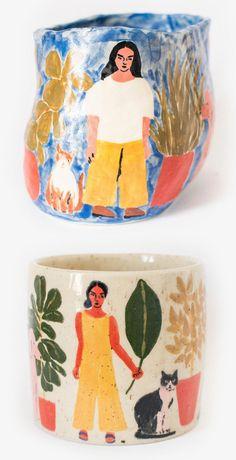 Illustrated Ceramic Pieces Capture the Spontaneity of a Sketchbook Ceramics by Leah Goren Pottery Painting, Ceramic Painting, Ceramic Art, Painted Ceramics, Ceramic Pottery, Pottery Art, Keramik Design, Decor Scandinavian, Pottery Designs