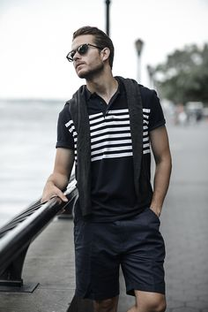 How to wear: charcoal crew-neck sweater, black and white horizontal striped polo, black shorts, black sunglasses Short Outfits, Cool Outfits, Casual Outfits, Adam Gallagher, Outfits Hombre, Black Sunglasses, Adidas, Black Shorts, Dapper