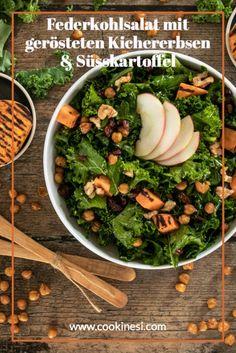 Fit durch den Winter mit diesem leckeren Superfood-Salat mit Federkohl, gerösteten Kichererbsen, Süsskartoffeln & Äpfeln! #federkohl #salat #winterrezept #süsskartoffel Superfood, Food Inspiration, Healthy Recipes, Ethnic Recipes, Fit, Roasted Garbanzo Beans, Napa Cabbage, Healthy Food Recipes, Shape