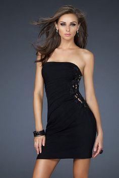 Black La Femme 17075 Strapless Cutout Lace Fitted Cocktail Dress [La Femme 17075 black dress] - $118.00 : Fashion dresses, 50% off Designer dresses at UrDressOnline
