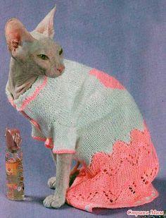 Вязаное платье с сердечком для кошки + МК - Гардероб для наших любимых питомцев (собак, кошек) - Страна Мам