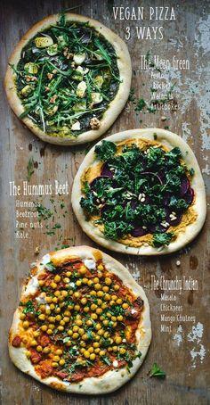 Pizza vegana - 3 maneras - The Mean Green, The Hummus Beet y The Crunchy Indian . - Pizza vegana – 3 maneras – El verde malo, la remolacha Hummus y el indio crujiente … – Efect - Vegan Dinners, Healthy Dinner Recipes, Indian Food Recipes, Whole Food Recipes, Diet Recipes, Pizza Recipes, Easy Recipes, Chicken Recipes, Indian Snacks