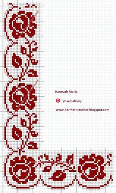 Filet lace 140 - Source by ureincke - Crochet Edging Patterns, Filet Crochet Charts, Crochet Borders, Crochet Squares, Loom Patterns, Cross Stitch Rose, Cross Stitch Borders, Cross Stitch Designs, Cross Stitch Patterns