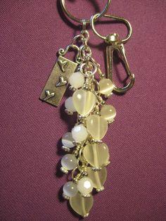 White Glass Beaded Purse Charm / Key Chain / by FoxysFunDangles