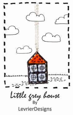 Little grey house by LevrierDesigns felt jewellery