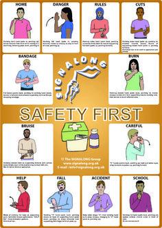 Sing language Safety First Poster Sign Language Basics, Sign Language Chart, Sign Language Phrases, Sign Language Alphabet, Sign Language Interpreter, Learn Sign Language, Language Study, Language Lessons, Body Language