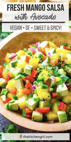 Juicy mango salsa recipe made with avocado and cucumber. Enjoy mango salsa with tortilla chips, as a side dish, or festive topping for tacos or grilled meats. Naturally vegan and gluten-free! Gluten Free Vegetarian Recipes, Beef Recipes, Healthy Recipes, Vegan Meals, Diabetic Recipes, Easy Recipes, Healthy Food, Dinner Recipes, Mango Salsa Recipes